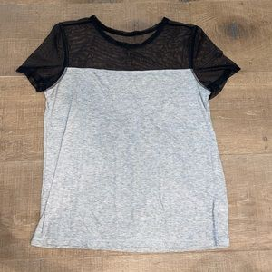 VICTORIAS SECRET GRAY AND BLACK MESH TEE